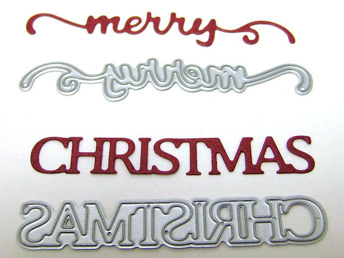 Merry Christmas Words Metal Cutting Die Style #2 Paper Crafting Dies