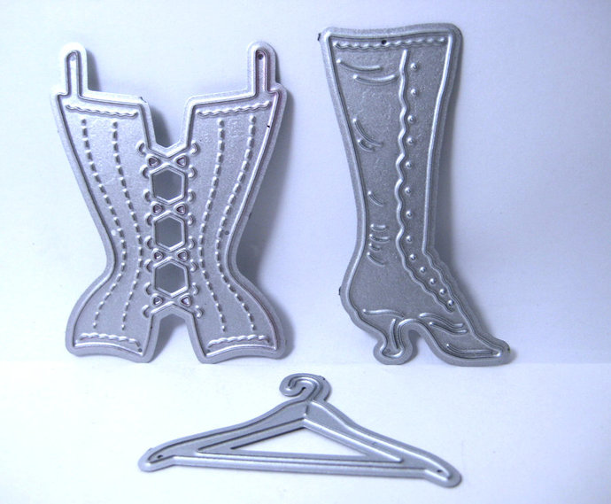 3pc High Top Shoe, Hanger and Corset Metal Cutting Die Set