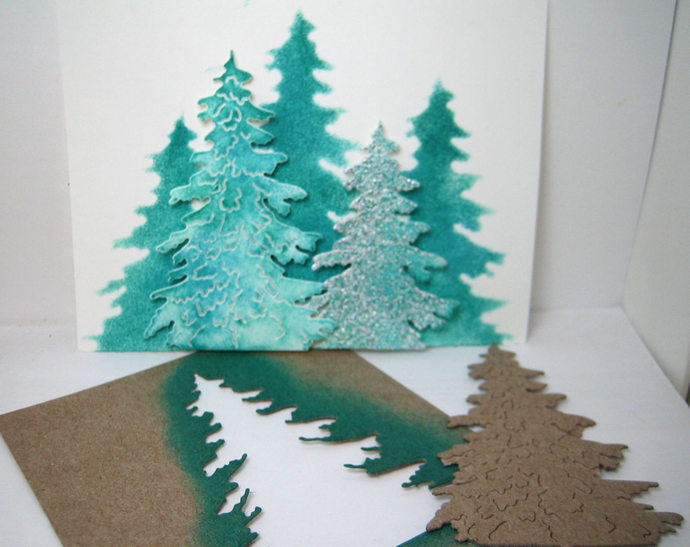 Large Embossed Pine Tree Metal Cutting Die