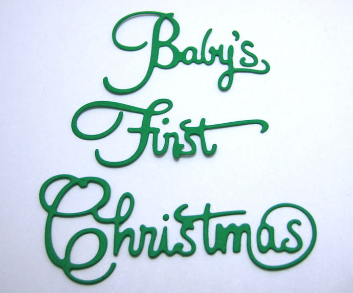 Baby's First Christmas Words Metal Cutting Die