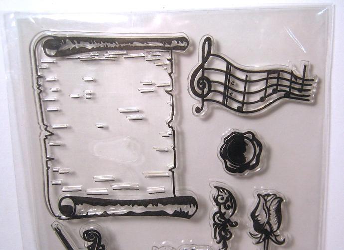 Violin, Rose, Scroll, Music, Clear Stamp Set