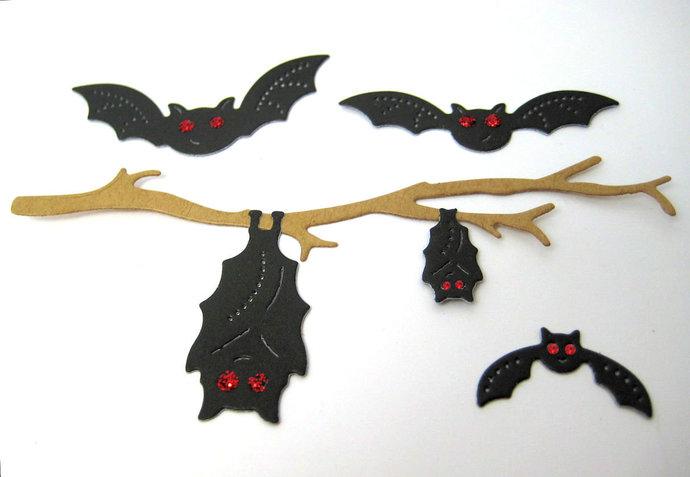 7pc Bats on a Branch Metal Paper Cutting Dies, Halloween