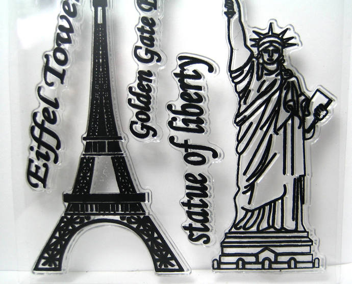 Statue of Liberty, Golden Gate Bridge and Eiffel Tower Clear Stamp Set