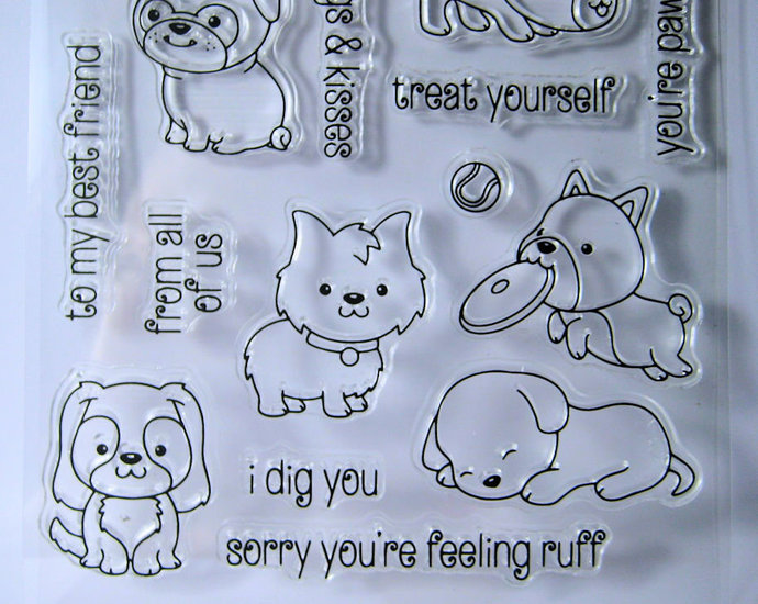Puppy Dogs, bone, bow, food dish, Clear Stamp Set Super Cute