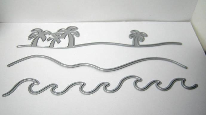3pc Waves, Beach, Palm Tree Metal Cutting Die Set