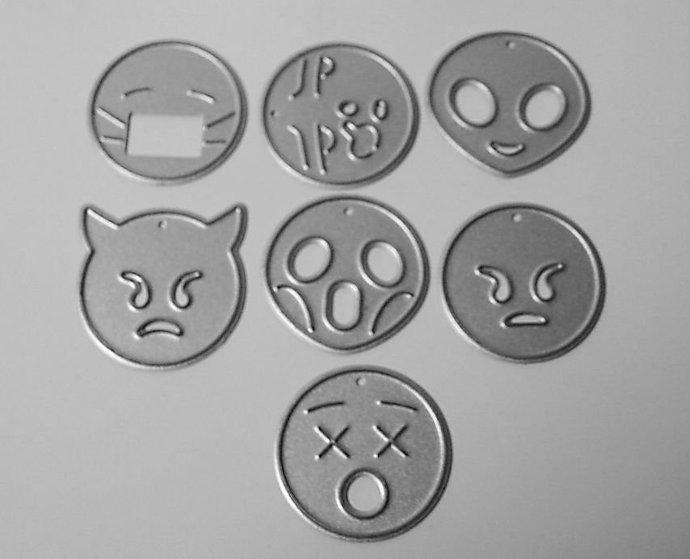 SALE 7pc Emoji Facial Designs Cutting Dies with Alien