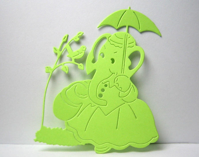 Elephant Under Umbrella by Bird on Tree Metal Cutting Die