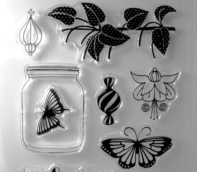 Bottle Jar Fuchsia Flowers Candy Butterfly Clear Stamp Set