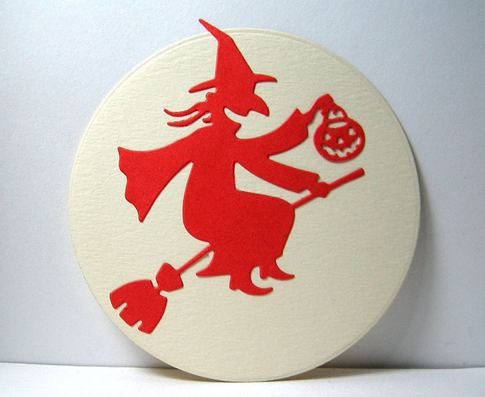 Witch on Broom holding Pumpkin Halloween Cutting Die