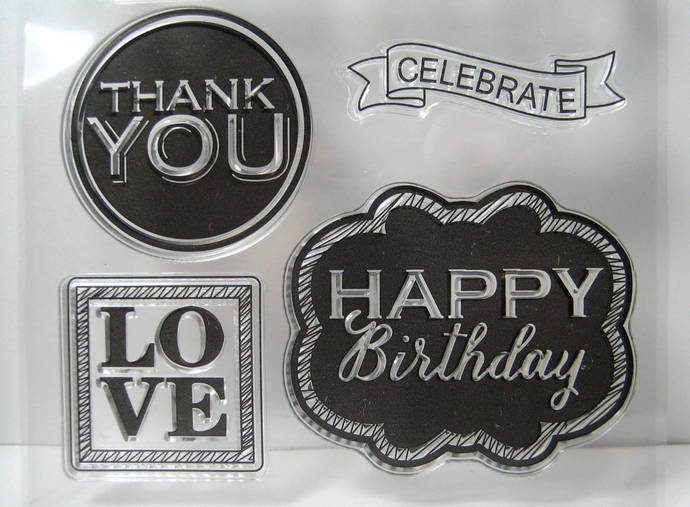 Word Text Clear Stamp Set, Wishing You The Best, Happy Birthday, etc
