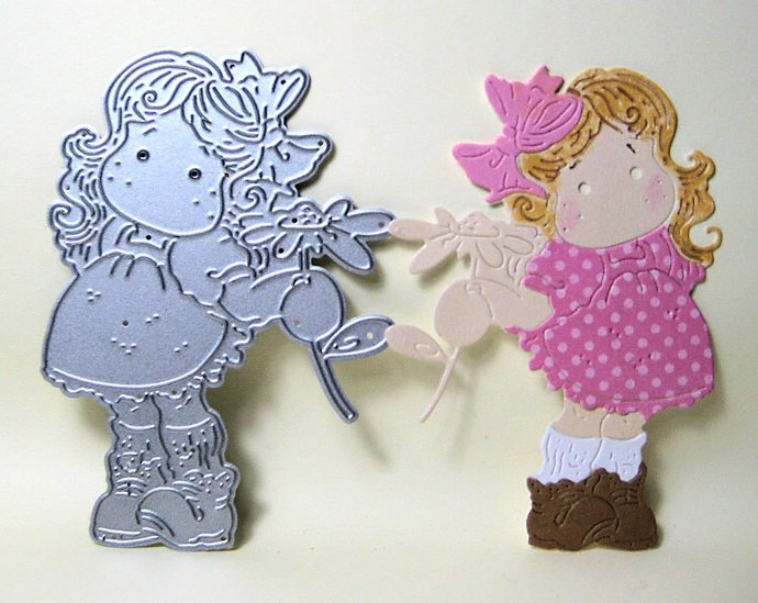 Young Girl with Flower Metal Paper Cutting Die