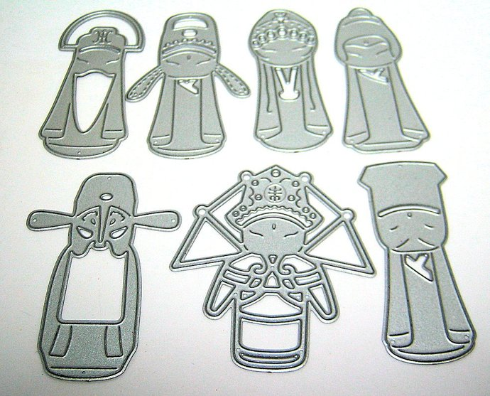 7pc Chinese Opera Metal Cutting Dies Set