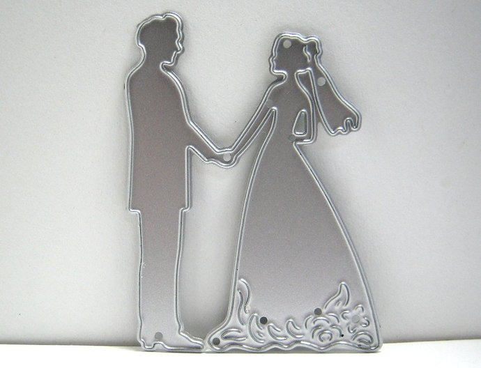 Small Bride and Groom Metal Cutting Die Wedding Couple