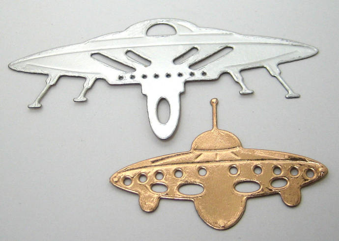 2pc Space Ship Metal Cutting Dies Style #2 Flying Saucers