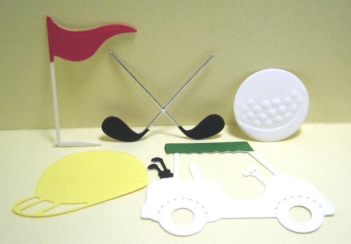 Golf Clubs, Cart, Hat, Flag, Ball Metal Cutting Dies Golfing Set