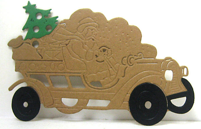 Santa in Old Truck Metal Cutting Die
