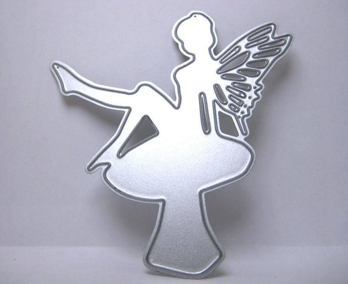 Fancy Winged Fairy on Mushroom Metal Cutting Die