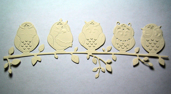 Five Owls on a Branch Metal Cutting Die Card Making Die Large size