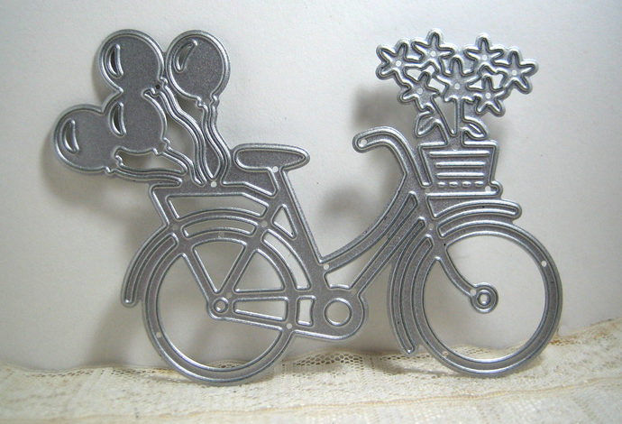 Bicycle with Balloons and Flowers Metal Cutting Die Bike Style #1