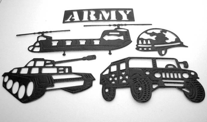 Army Set Metal Cutting Dies Tank, Helicopter, Humvee, Helmet, Military