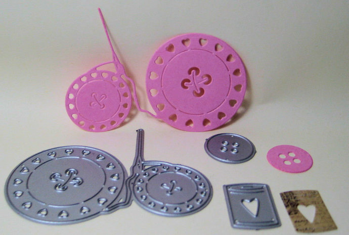 3pc Buttons, needle, thread Metal Cutting Die Set