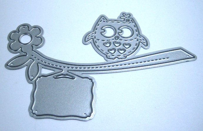 Owl, Branch and Message Tag Metal Cutting Die