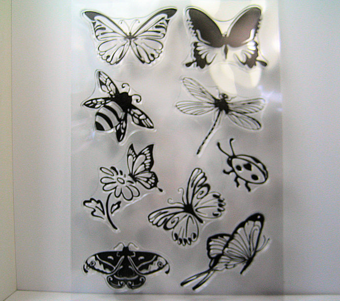 Insect Clear Stamp Set, Butterflies, Lady Bug, Dragonfly, and Bee Stamps