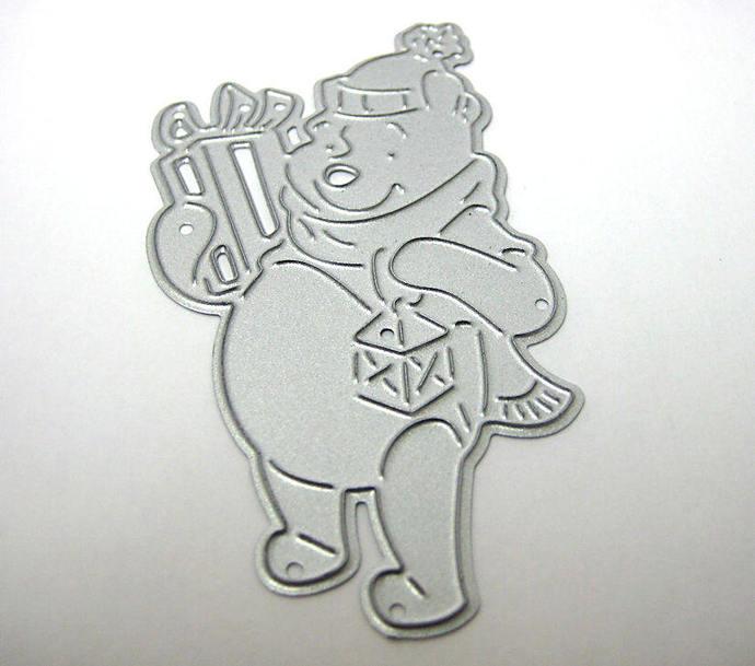 Winnie the Pooh with Present, Light, Hat Thin Metal Die