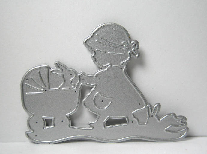 Little Girl pushing Stroller with Bunny Metal Cutting Die