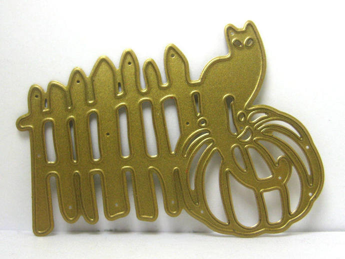 Cat on Pumpkin by Fence Fall Halloween Metal Cutting Die