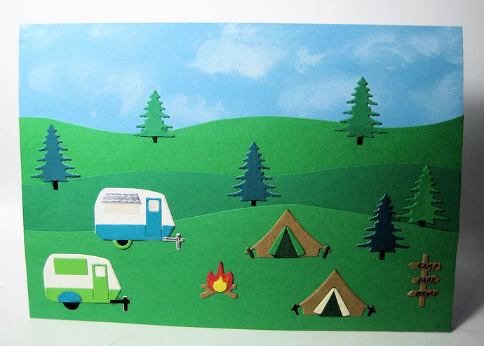 8pc Camping, Tents, Fire, Sign and Travel Camper Cutting Die Set