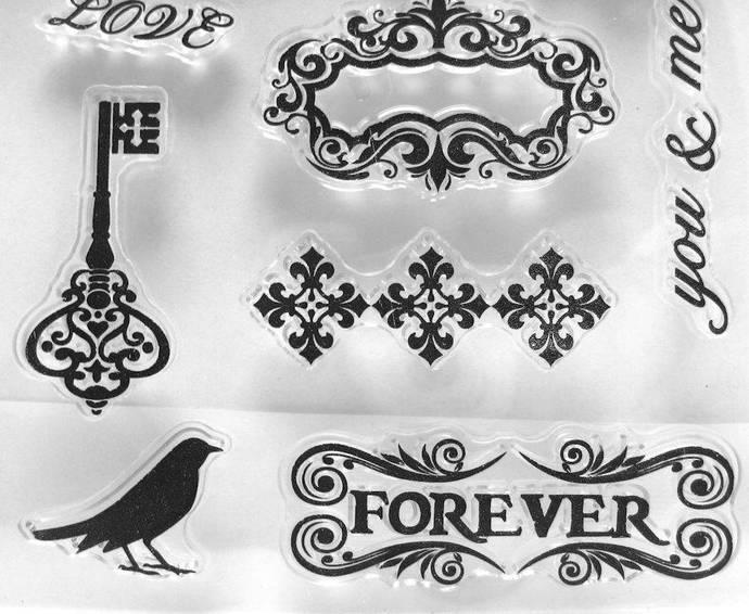 Locks, Keys, Leaves, Forever. Blackbird Clear Stamp Set