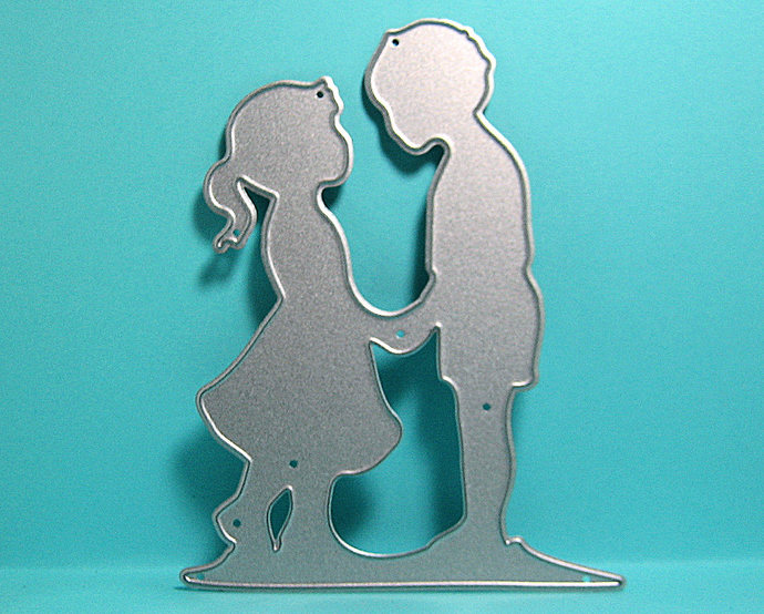 Little Boy and Little Girl Holding Hands Metal Cutting Die