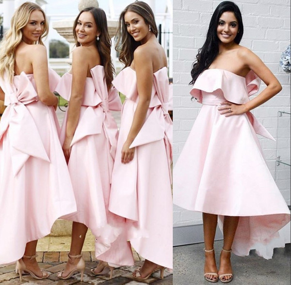 Pink Off the Shoulder Prom Dress with Bow-Knot, High-Low A-Line Satin Prom