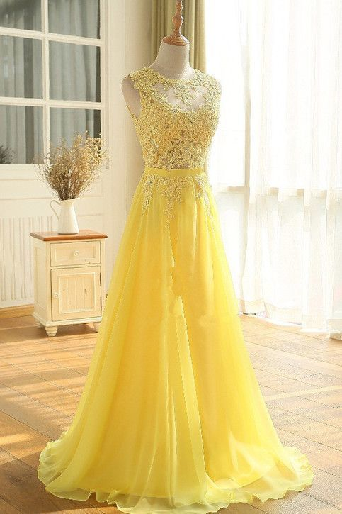 Yellow Floor Length A Line Appliques Sleeveless Chiffon Long Prom Dress,Sexy