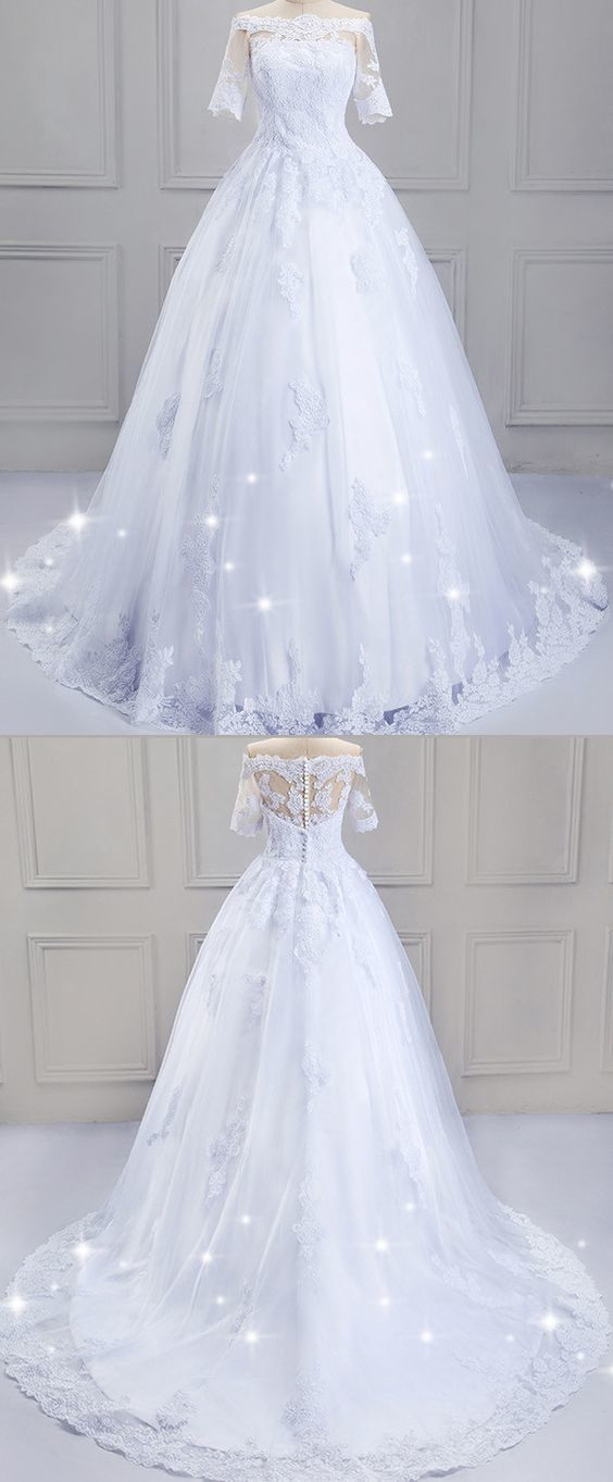 Modest Tulle Off-the-shoulder Neckline Ball Gown Wedding Dress With Lace