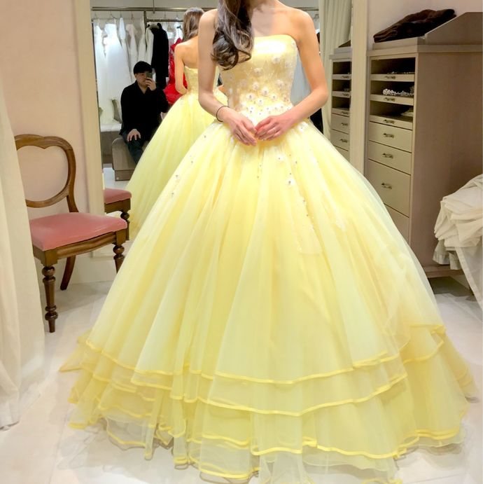 Yellow Strapless Ball Gown , Evening Dress,Long Prom Dress, Simple Party