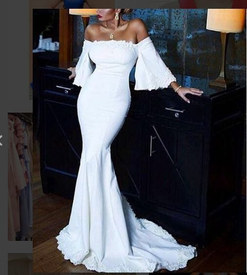 Sexy Mermaid Off Shoulder White Lace Long Prom Dresses Party Dress,Cheap Wedding