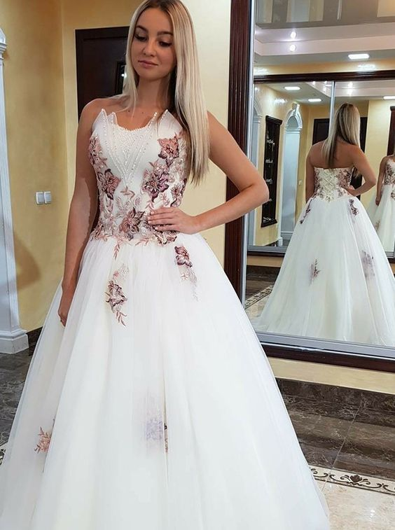 A-Line Sweetheart Sweep Train White Prom Dress with Appliques Beading,Party