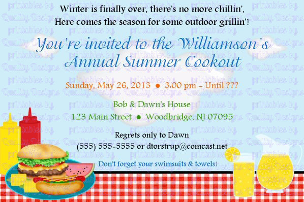 cookout printable invitation bbq summer by quality designs on