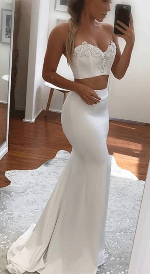 Sweetheart Two Piece Mermaid Prom Dress,Applique White Evening Dress,evening