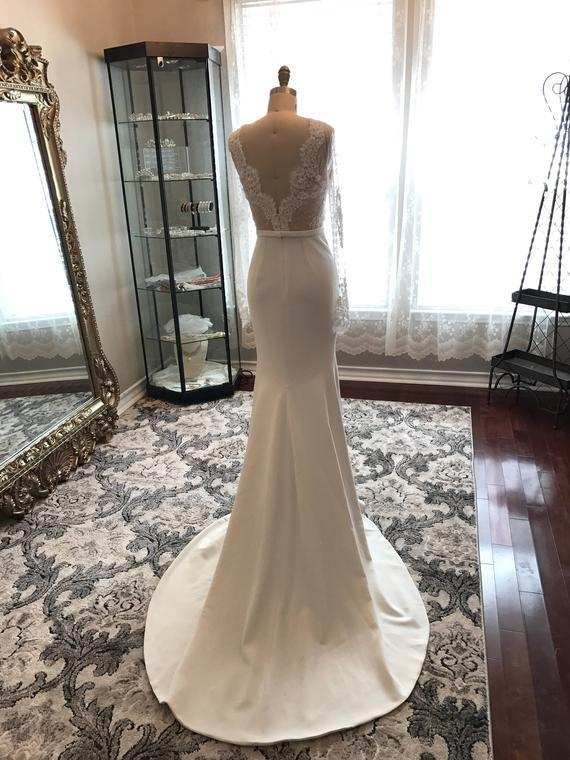 Long Sleeves Mermaid Beaded Wedding Dress with Open Back,Cheap Wedding