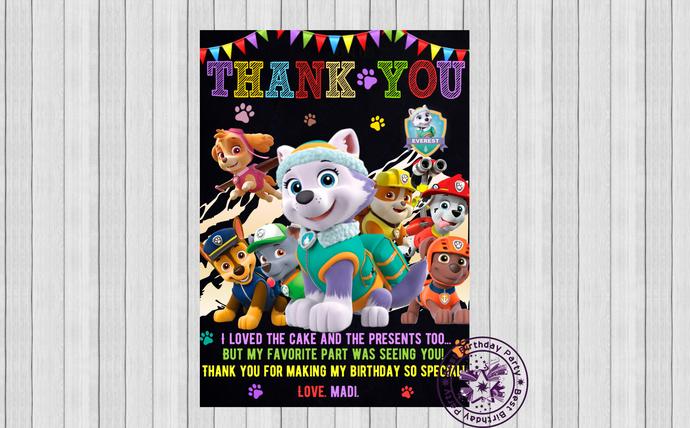 Everest paw patrol birthday party thank you cards, Birthday thank you cards