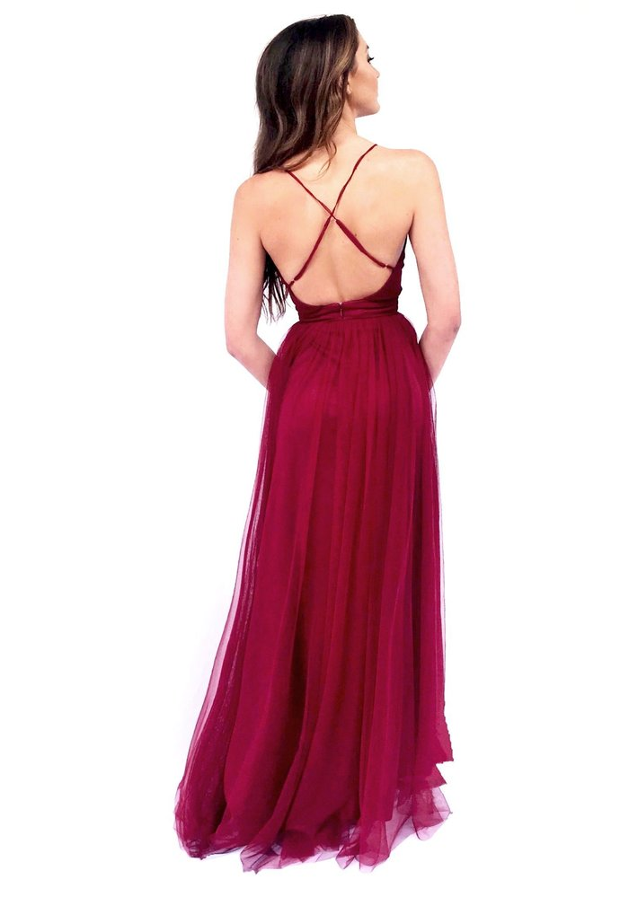 Black Deep V Neck Evening Dress with Open Back,Sexy Party Dress,Formal