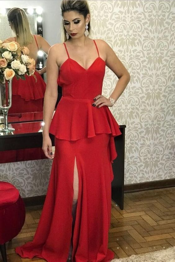 Spaghetti Straps Maxi Long Red Prom Gown,Sexy Party Dress,Formal Dress,8102616