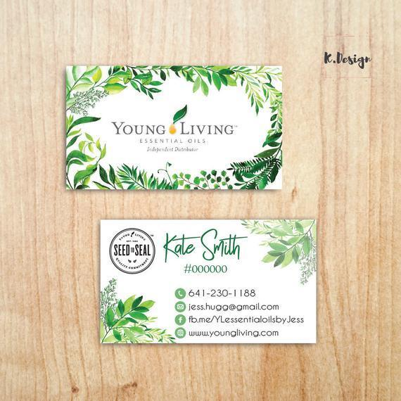 Personalized Young Living Business Card, Watercolor Business Cards, PRINTABLE