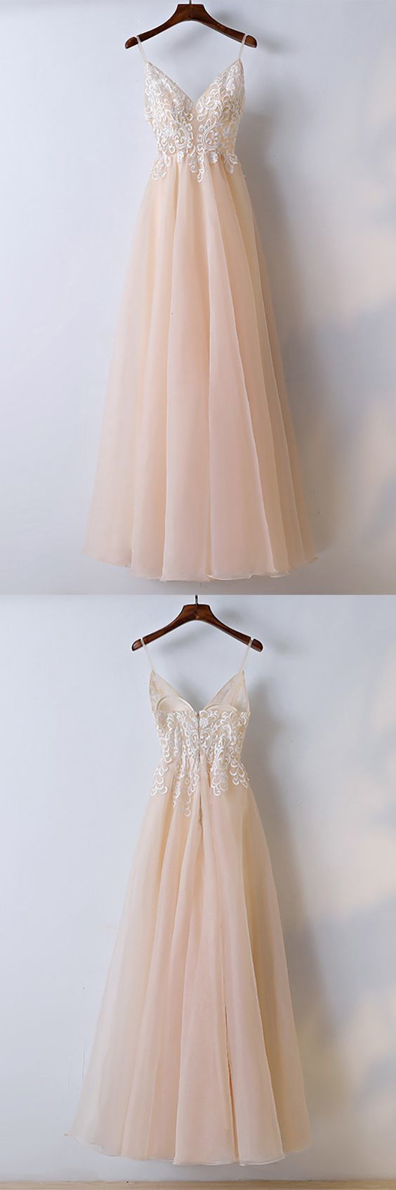 Champagne Lace Long Prom Dress With Spaghetti Straps,Sexy Party Dress,Formal