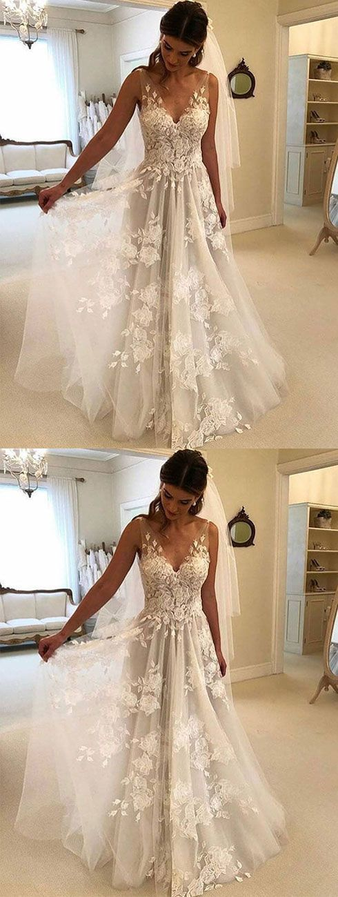 White v neck tulle lace applique long prom dress, white evening dress,Formal