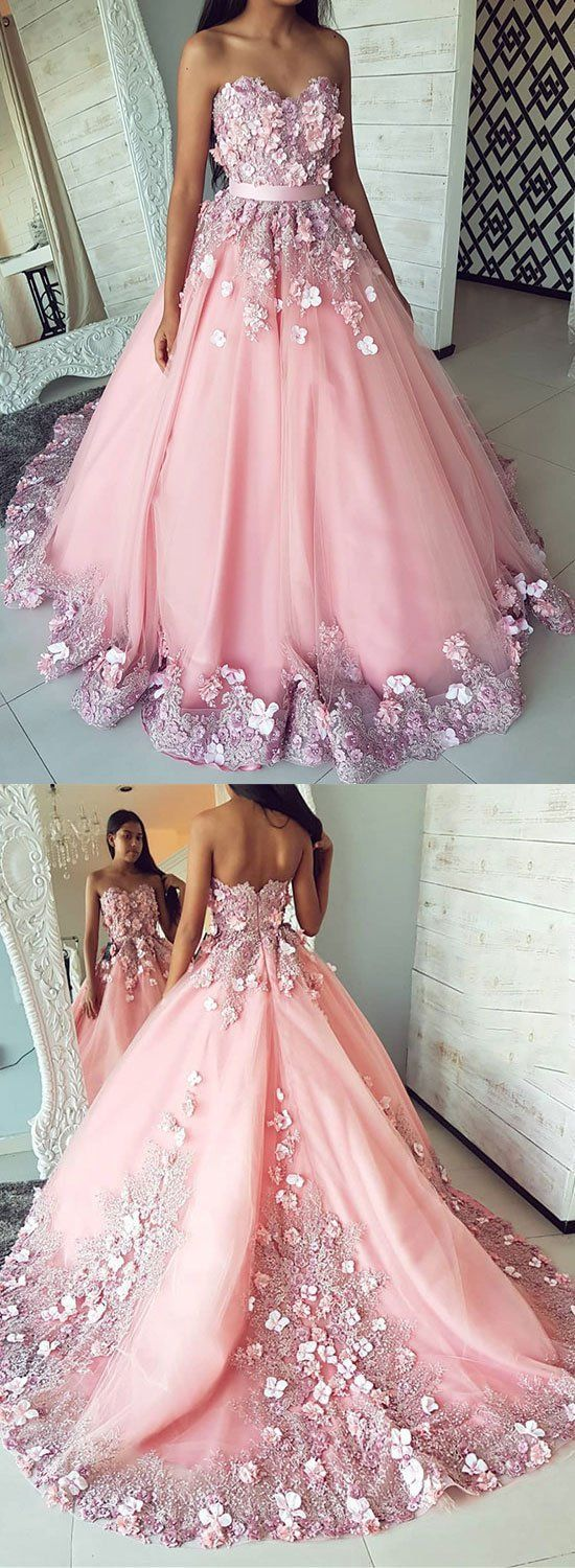 Pink tulle lace applique long prom dress, pink evening dress,Formal Dress,Cheap