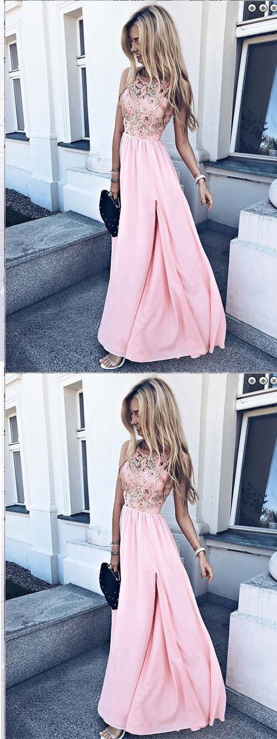 A-Line Round Neck Pink Chiffon Long Appliques Prom Dress,Sexy Party Dress,Formal